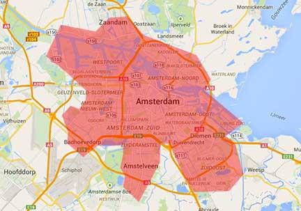 Glaszetter Amsterdam werkgebied